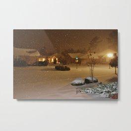 Coastal Winter Snow Storm Metal Print