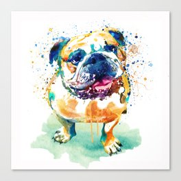 Watercolor Bulldog Canvas Print