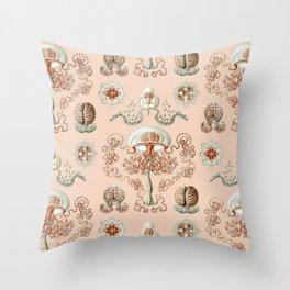 Ernst Haeckel - Jellyfish Scientific Illustration Throw Pillow