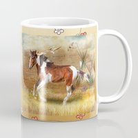 pony Mugs featuring Apache Pony by Trudi Simmonds