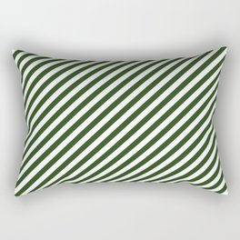 Small Dark Forest Green and White Candy Cane Stripes Rectangular Pillow