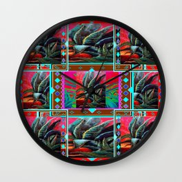 RED WESTERN DESERT AGAVE CACTUS PAINTING PATTERN ART Wall Clock