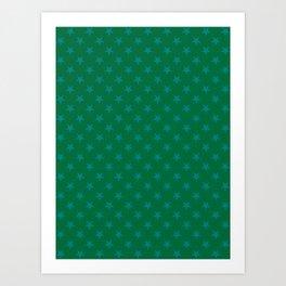 Teal Green on Cadmium Green Stars Art Print