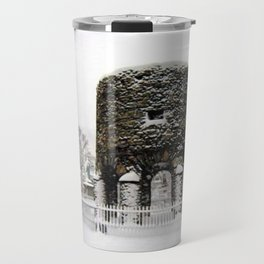 Newport, RI Viking Tower, Touro Park Winter Scene Travel Mug