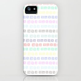 Colored boxes drawn by pen on white background iPhone Case