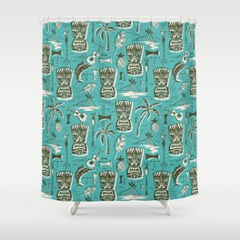 Tropical Tiki - Aqua Shower Curtain