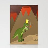 dinosaur Stationery Cards featuring dinosaur by Nir P