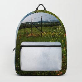 Texas Wildflowers - Retro Style Art of Flowers Along Fenceline Backpack