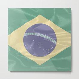 Brazil Silk Flag Metal Print
