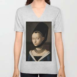 Portrait of a Young Girl by Petrus Christus, 1470 Unisex V-Neck