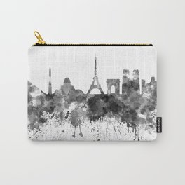 Paris skyline in black watercolor on white background Carry-All Pouch