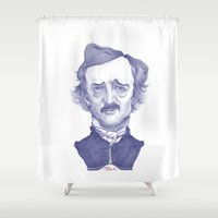 poe Shower Curtains featuring Edgar Allan Poe illustration by Stavros Damos