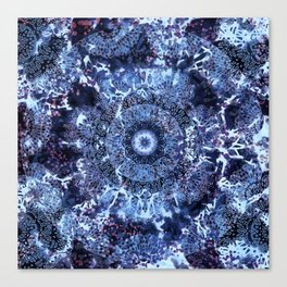 Iris Mandala Blue Canvas Print
