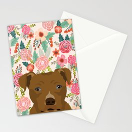 Pitbull floral dog portrait pibble peeking face gifts for dog lover Stationery Cards