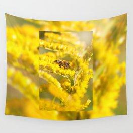 Bee sitting on Solidago virgaurea Wall Tapestry
