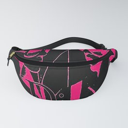 Sketched Fashion Pink on Black Fanny Pack