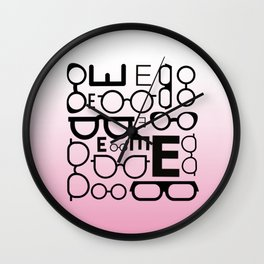 Eye Chart Eyeglasses Pink and Black Wall Clock