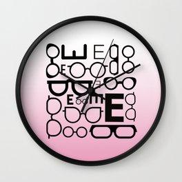 Eye Chart Eyeglasses Pink and Black Wall Clock