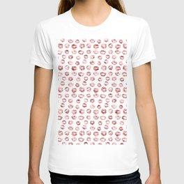 Girly Fashion Lips Rose Gold Lipstick Pattern T-shirt
