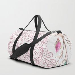 Rose Gold Mandala Garden on Marble Duffle Bag