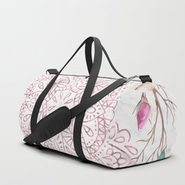 Rose Gold Mandala Garden on Marble Duffle Bag