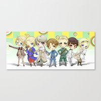 hetalia Canvas Prints featuring Hetalia by Meaghan Meadows