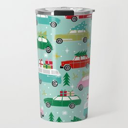 Vintage Christmas cars festive holiday traditions snow winter snowflakes classic car pattern Travel Mug