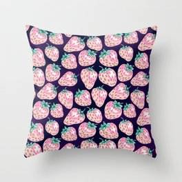 Pink Strawberry pattern on purple background Throw Pillow