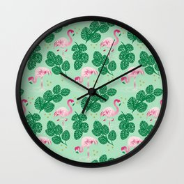 Flamingo Friends Wall Clock