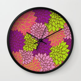 Dahlia Flowers, Blossoms - Pink Purple Green Wall Clock