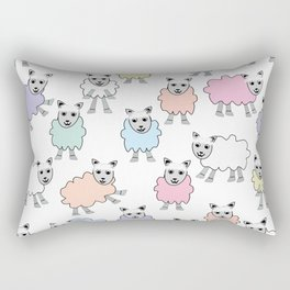 Colorful Counting Sheep Bedtime Pattern Rectangular Pillow