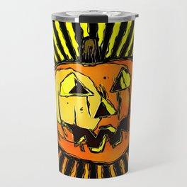 Scary Halloween Pumpkin Travel Mug
