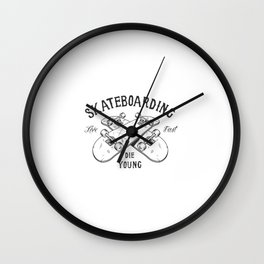 Logotipo De Atividade De Skate Monocromatico Vintage Wall Clock