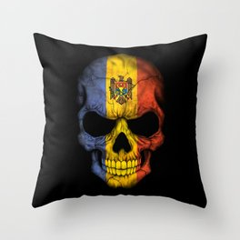 Dark Skull with Flag of Moldova Throw Pillow