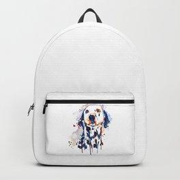 Dalmatian Head Watercolor Portrait Backpack