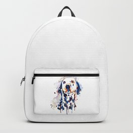 Dalmatian Head Watercolor Portrait Backpack