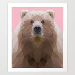 Low poly bear on pink background Art Print