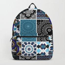 Patchwork . Blue , black and grey . Backpack