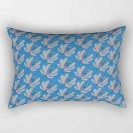 Silver Flowers – Blue Bell – Scandinavian Folk Art Rectangular Pillow