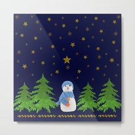 Sparkly gold stars, snowman and green tree Metal Print