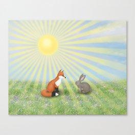 fox and bunny Canvas Print