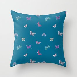 Christmas jeweled butterflies on teal, butterfly, jewels, precious, butterflies, new year, t Throw Pillow