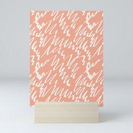 Terracotta scribble pattern abstract Mini Art Print
