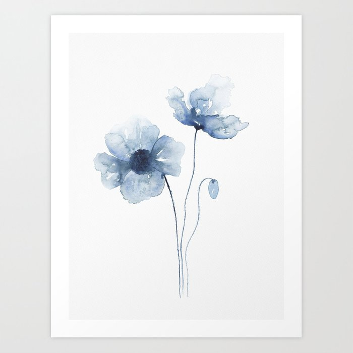 Blue Watercolor Poppies Art Print