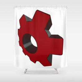 Red toothed wheel in perspective - Vector Shower Curtain