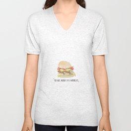 You idiot, nobody eats hamburgers.  Unisex V-Neck