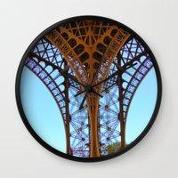 eiffel Wall Clocks featuring Eiffel by Camille Renee
