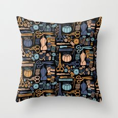 Sewing Notions Block Print Throw Pillow