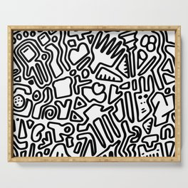 black & white doodle Serving Tray