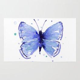 Dark Blue Butterfly Watercolor Rug